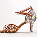 povoljno Cipele za latino plesove-Žene Plesne cipele Saten Cipele za latino plesove Kopča / Kristalni detalji / Crystal / Rhinestone Štikle Deblja visoka potpetica Braon / Seksi blagdanski kostimi