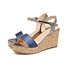 hesapli Kadın Sandaletleri-Kadın's Sandaletler Platform Açık Uçlu Payet PU Yaz Altın / Mavi