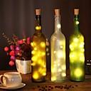 זול חוט נורות לד-2m בקבוק יין פקק מחרוזת אורות 20 לדים smd 0603 חם לבן / לבן / צבע רב עמיד למים / מסיבה / חתונה / חג המולד / סוללות ליל כל הקדושים מופעל 1pc