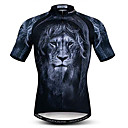 זול כיסויים-21Grams 3D חיה אריה בגדי ריקוד גברים שרוולים קצרים חולצת ג'רסי לרכיבה - שחור אופניים ג'רזי צמרות נושם פתילת לחות ייבוש מהיר ספורט פוליאסטר אלסטיין רכיבת הרים רכיבת כביש ביגוד / מיקרו-אלסטי