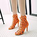 hesapli Kadın Sandaletleri-Kadın's Sandaletler Bağcıklı Stiletto Topuk Açık Uçlu Suni Deri Tatlı Yaz Siyah / Açık Kahverengi / Turuncu