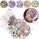 voordelige Nagelstrass & Decoraties-1box nagel glitter vlokken gemengde zeshoek ronde symfonie pailletten pigment holografische nail art poeder stof diy manicure decoraties