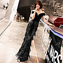 cheap Ceiling Lights-Mermaid / Trumpet Off Shoulder Floor Length Lace / Velvet Formal Evening Dress with Sequin by LAN TING Express