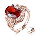 זול שרשראות חרוטות-מותאם אישית מותאם אישית אדום אודם טבעת זירקון קלאסי חרות מתנה הבטחה פֶסטִיבָל אובלי 1pcs אדום / חריתת לייזר