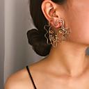 זול עגילים-בגדי ריקוד נשים עגיל סגנון וינטג' פנים עגילים תכשיטים זהב / כסף עבור Party מתנה יומי קרנבל חגים זוג 1