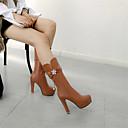 hesapli Kadın Botları-Kadın's Çizmeler Stiletto Topuk Yuvarlak Uçlu Taşlı / İmistasyon İnci PU Yarı-Diz Boyu Çizmeler Sonbahar Kış Siyah / Beyaz / Pembe
