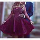hesapli Gece Elbiseleri-A-Şekilli Düşük Omuz Diz Boyu Saten / Tül Boncuklama ile Resmi Akşam Elbise tarafından LAN TING Express