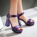 hesapli Kadın Topukluları-Kadın's Sandaletler Kalın Topuk Burnu Açık Toka Suni Deri Günlük / Minimalizm Yürüyüş Yaz / İlkbahar yaz Beyaz / Mor / Fuşya