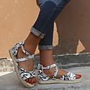 hesapli Kadın Sandaletleri-Kadın's Sandaletler Düz Taban Yuvarlak Uçlu PU Yaz Siyah / Leopar / Koyu Kahverengi
