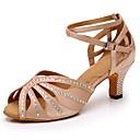 povoljno Cipele za latino plesove-Žene Plesne cipele Saten Cipele za latino plesove Štras Štikle Kubanska potpetica Moguće personalizirati Nude / Vježbanje
