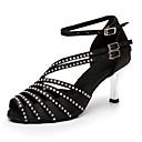 hesapli Latin Dans Ayakkabıları-Kadın's Saten Latin Dans Ayakkabıları Taşlı Topuklular Gümüş Kaplama Şeffaf Topuk Kişiselleştirilmiş Siyah