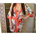 povoljno Ogrtači i odjeća za spavanje-Žene Mašna / Naborano / Print Sexy Kimono Noćno rublje Cvjetni print / Color block Kompleti gaćica i grudnjaka Obala One-Size