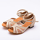 hesapli Caz Dans Ayakkabıları-Kadın's Dans Ayakkabıları Sentetikler Latin Dans Ayakkabıları Parıltı Topuklular Kalın Topuk Kişiselleştirilmiş Siyah / Altın / Gümüş