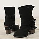 hesapli Kadın Botları-Kadın's Çizmeler Kalın Topuk Yuvarlak Uçlu Kanvas Yarı-Diz Boyu Çizmeler Kış Siyah / Kahverengi / Gri