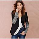 hesapli Kadın Topukluları-Kadın's Günlük Sonbahar Kış Normal Ceketler, Solid Şal Yaka Uzun Kollu Polyester Siyah