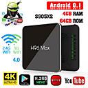 Недорогие Приставки TV Box-h96 max amlogic s905x2 android 8.1 4 ГБ ddr4 64 ГБ ТВ-бокс двухдиапазонный Wi-Fi LAN Bluetooth USB3.0 HDMI