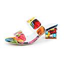 hesapli Kadın Sandaletleri-Kadın's Sandaletler Kalın Topuk Açık Uçlu PU Günlük Yaz Siyah / Sarı / Zıt Renkli