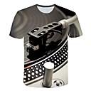 billige Herresekker-Rund hals Store størrelser T-skjorte Herre - 3D, Trykt mønster overdrevet Lyseblå / Kortermet