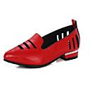 hesapli Kadın Sandaletleri-Kadın's Mokasen & Bağcıksız Ayakkabılar Düşük Topuk Sivri Uçlu PU Tatlı İlkbahar yaz Siyah / Beyaz / Altın