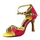 povoljno Cipele za latino plesove-Žene Plesne cipele Saten Cipele za latino plesove Kopča Štikle Deblja visoka potpetica Moguće personalizirati Fuksija / Crvena / Nude / Seksi blagdanski kostimi / Koža / Vježbanje