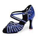 hesapli Latin Dans Ayakkabıları-Kadın's Saten Latin Dans Ayakkabıları Topuklular Kıvrımlı Topuk Mavi