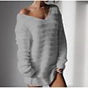 hesapli Moda Küpeler-Kadın's Solid Uzun Kollu Kazak, V Yaka Siyah / Beyaz / Doğal Pembe S / M / L