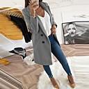 abordables Escarpins-Femme Quotidien Longue Manteau, Couleur Pleine Col rabattu Manches Longues Polyester Noir / Jaune / Bleu