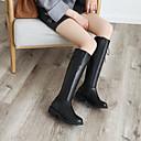 זול מגפי נשים-בגדי ריקוד נשים מגפיים שטוח בוהן עגולה PU מגפיים עד הברך סתיו חורף שחור / חום / חאקי