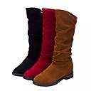 זול נעלים שטוחות לנשים-בגדי ריקוד נשים מגפיים עקב נמוך בוהן עגולה סוויד / עור חזיר מגפיים באורך אמצע - חצי שוק יום יומי / מִעוּטָנוּת אביב / סתיו חורף שחור / חום / אדום