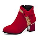 זול מגפי נשים-בגדי ריקוד נשים מגפיים חסום את העקב בוהן מחודדת סוויד סתיו חורף שחור / אדום