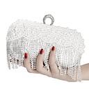 זול תיקי יד-בגדי ריקוד נשים רוכסן פּוֹלִיאֶסטֶר תיק ערב צבע אחיד שחור / זהב / כסף