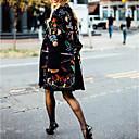 povoljno Tote torbe-Žene Dnevno Jesen zima Normalne dužine Kaput, Biljke Ovratnika Dugih rukava Poliester Crn