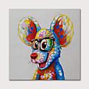 povoljno Slike sa životinjskim motivima-Hang oslikana uljanim bojama Ručno oslikana - Životinje Pop art Moderna Uključi Unutarnji okvir
