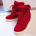 זול סניקרס לנשים-בגדי ריקוד נשים נעלי ספורט שטוח בוהן עגולה קנבס סתיו חורף שחור / אדום