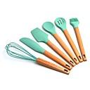 זול כלי בישול-כלי בישול כלי מטבח סיליקון שאינו מקל במבוק uvale, סט 7 חלקים