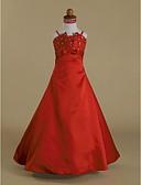 Χαμηλού Κόστους Λουλουδάτα φορέματα για κορίτσια-Γραμμή Α / Πριγκίπισσα Μακρύ Φόρεμα για Κοριτσάκι Λουλουδιών - Σατέν Αμάνικο Λεπτές Τιράντες με Χάντρες / Φιόγκος(οι) / Βολάν με LAN TING BRIDE®
