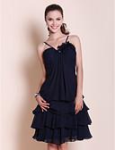 cheap Wedding Dresses-A-Line / Princess Spaghetti Strap / Sweetheart Neckline Knee Length Chiffon Bridesmaid Dress with Draping / Flower by LAN TING BRIDE®