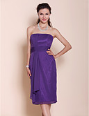 cheap Bridesmaid Dresses-Sheath / Column Strapless Knee Length Chiffon Bridesmaid Dress with Draping / Ruched by LAN TING BRIDE® / Open Back