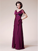 cheap Mother of the Bride Dresses-A-Line V Neck Floor Length Chiffon Mother of the Bride Dress with Flower Ruffles by LAN TING BRIDE®