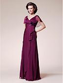 Χαμηλού Κόστους Φορέματα για τη Μητέρα της Νύφης-Γραμμή Α Λαιμόκοψη V Μακρύ Σιφόν Φόρεμα Μητέρας της Νύφης με Λουλούδι Βολάν με LAN TING BRIDE®