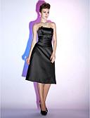billige Damedunjakker og anorakker-A-linje Stropløs Knælang Satin Lille sort kjole Cocktailparty Kjole med Krøllede Folder ved TS Couture®