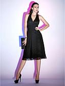 hesapli Gece Elbiseleri-A-Şekilli Boyundan Bağlamalı Diz Altı Şifon Kırma Dantel ile Kokteyl Partisi / Tatil Elbise tarafından TS Couture® / Minik Siyah Elbise