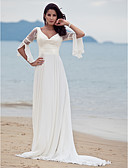 cheap Wedding Dresses-A-Line V Neck Court Train Chiffon / Floral Lace Made-To-Measure Wedding Dresses with Lace by LAN TING BRIDE® / Beach / Destination