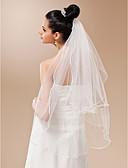 """זול הינומות חתונה-שתי שכבות קצה עפרון הינומות חתונה צעיפי אצבע עם פנינים 35.43 אינץ' (90 ס""""מ) טול קו A, שמלת נשף, נסיכה, חצוצרה / בת הים, נדן / טור"""