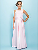 cheap Junior Bridesmaid Dresses-A-Line Jewel Neck Floor Length Satin Junior Bridesmaid Dress with Draping / Sash / Ribbon / Flower by LAN TING BRIDE® / Spring / Fall / Winter / Apple / Hourglass