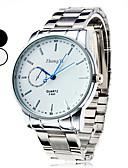 baratos Couro-Homens Relógio de Pulso Quartzo Relógio Casual Lega Banda Analógico Amuleto Relógio Elegante Prata - Branco Preto