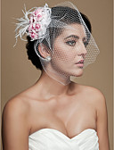 cheap Party Headpieces-Crystal / Fabric Blusher Veils / Tiaras / Birdcage Veils with Feather 1 Wedding / Party / Evening Headpiece