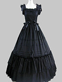 abordables Robes de Lolita-Princesse Gothique Robe à volants Satin Femme Robes Cosplay Noir Mancheron Long Les costumes