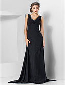 cheap Evening Dresses-Sheath / Column V Neck Sweep / Brush Train Chiffon Formal Evening Dress with Beading by TS Couture®