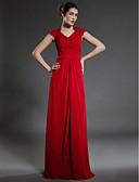 Χαμηλού Κόστους Φορέματα για τη Μητέρα της Νύφης-Ίσια Γραμμή Λαιμόκοψη V Μακρύ Σιφόν Φόρεμα Μητέρας της Νύφης με Δαντέλα Χιαστί με LAN TING BRIDE®